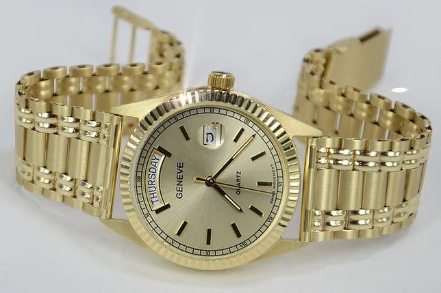 Złoty zegarek z bransoletą męski 14k Geneve mw013ydy&wb006y B