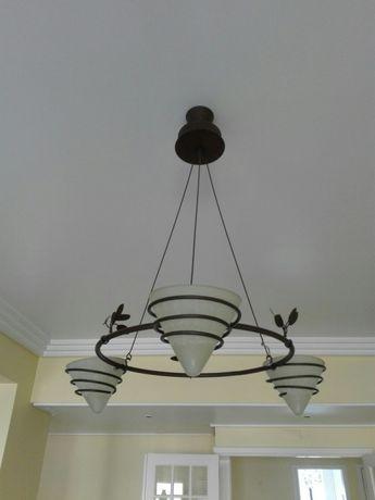 Candeeiro de tecto com 3 lâmpadas vidro Murano