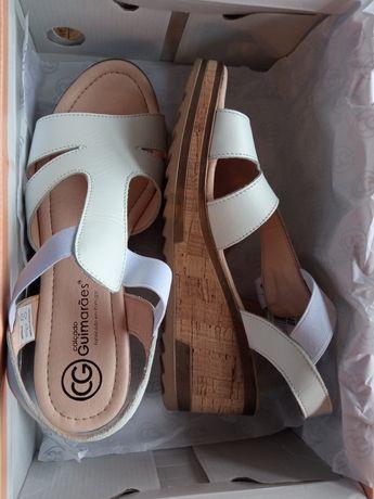 Sandálias brancas novas, 38, Made in Portugal