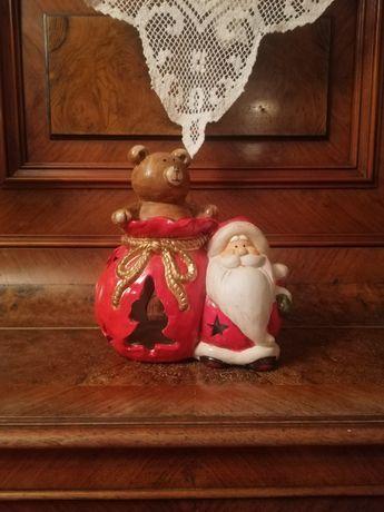 Bożonarodzeniowy świąteczny lampion ceramiczny kominek świecznik duży