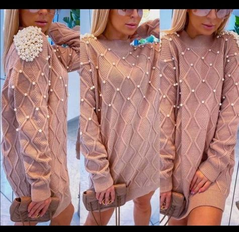 Sweter sukienka  perełki