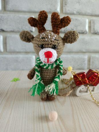 Игрушка олень. Вязаный олень.Подарки на Новый год.Новогодний декор.