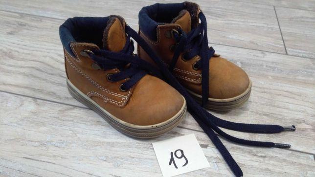 Buty zimowe ocieplane brązowe skóra naturalna rozm. 19