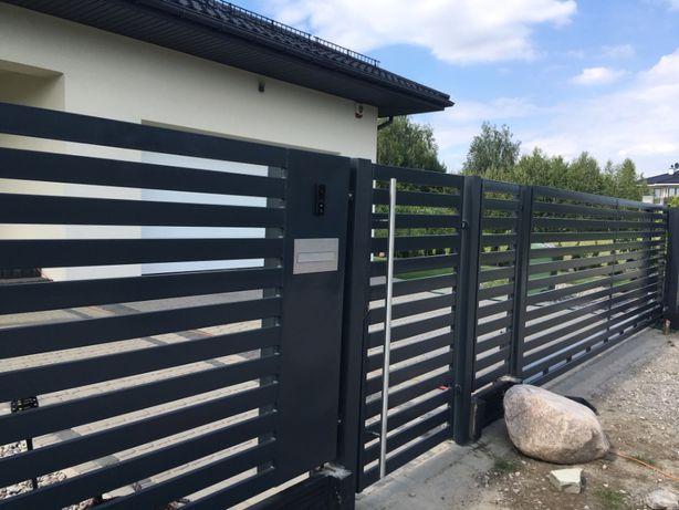 Ogrodzenia, panele, przęsła, brama, nowoczesne ogrodzenia