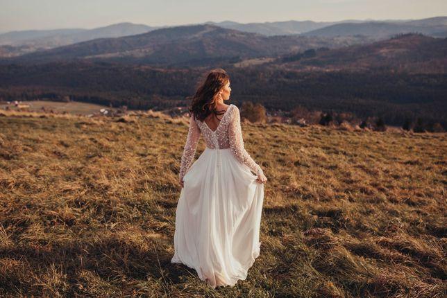 Suknia ślubna r. 38 M długi rękaw boho elegancka