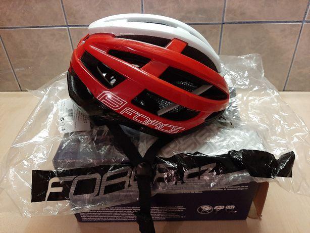 Kask rowerowy FORCE LYNX, czarno-czerwono-białe – S/M