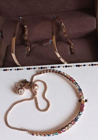 Biżuteria komplet kolczyki bransoletka walentynki