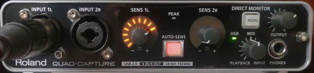 Placa de Som/Interface de Áudio USB - Roland QUAD-CAPTURE