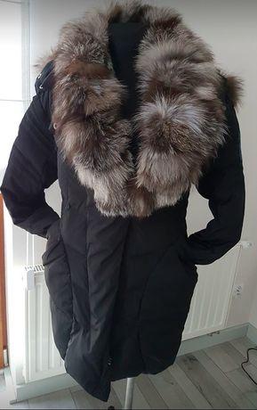 kurtka puchowa zimowa futro naturalne lis