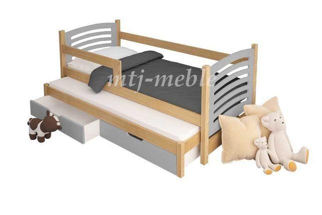 łóżko podwójne Olek z barierką i materacami! Duża gama kolorów