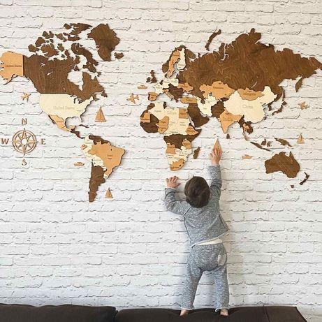 Карта світу з дерева багатошарова стіну карта мира многослойная