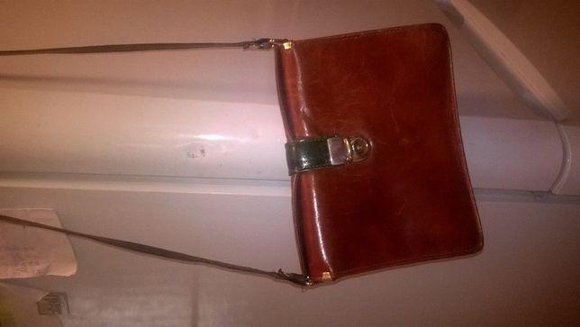 Skórzana torba-torebka brązowa