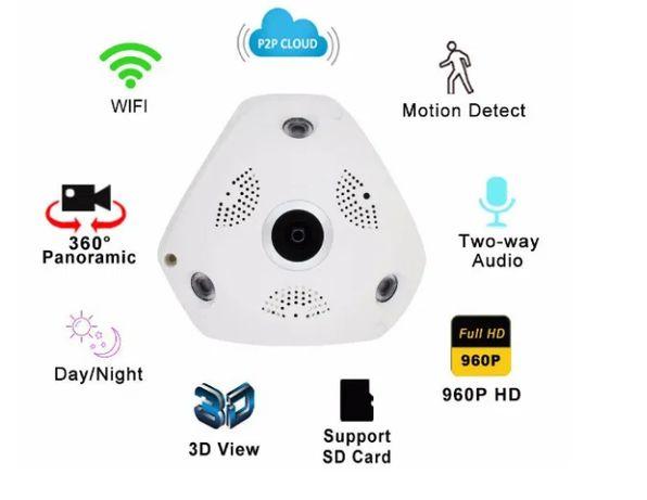 Панорамная ip камера видеонаблюдения потолочная vr cam 3d wi-fi