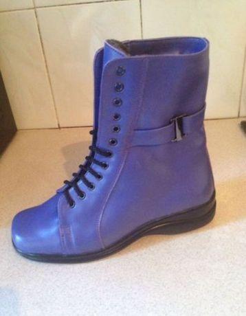 Кожаные ботинки тёплым  мехом