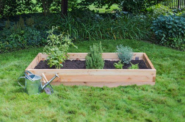 podwyższone grządki drewniane, drewniany inspekt, donice, warzywniak