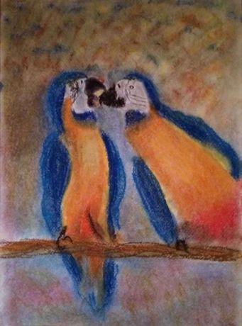 картина Ара попугай пастель
