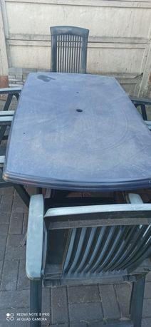 Zestaw mebli ogrodowych 6 krzeseł plus duży stół