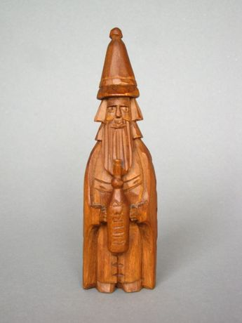 Św.Mikołaj z butelką bimbru figurka drewniana