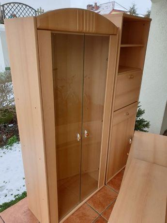 Komplet mebli - niska szafka + witryna + słupek
