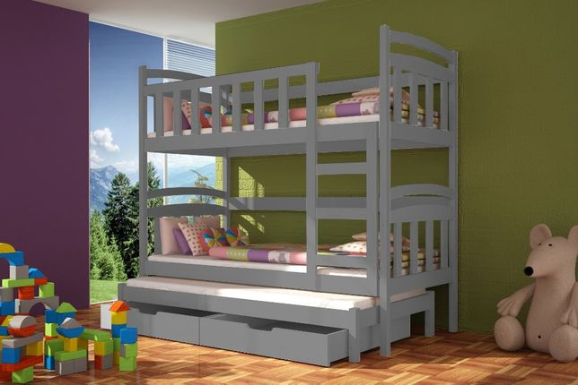Łóżko piętrowe dla 3 osób Dawid ! *drewno sosnowe* Materace Gratis