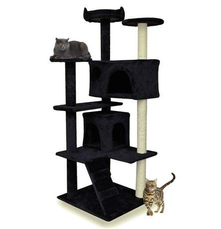 Drapak dla kota czarny z legowiskiem 133 cm drzewko