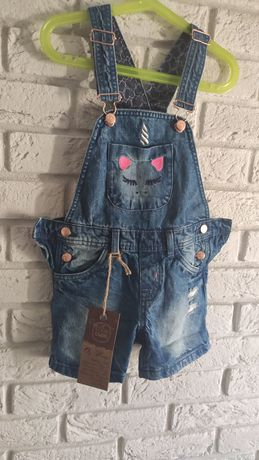 Ogrodniczki spodnie szorty na szelkach jeansowe jeans cool club r.122