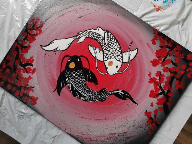 Obraz duży 40x50 cm karp koi japonia abstrakcja akryl ręcznie malowany