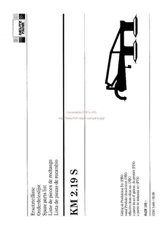Katalog części kosiarka Deutz fahr KM 2.19S