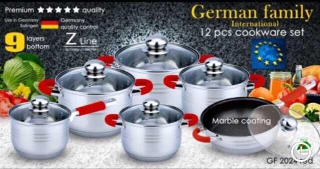 Набор посуды 12в1 Набор Кастрюль  с СИЛИКОНОВЫМИ Ручками 9слойное дно