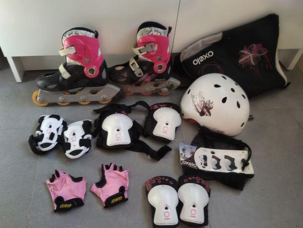 Patins em linha Oxelo 32-34 + proteções + capacete