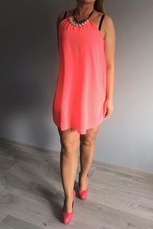 Sukienka neonowa różowa uniwersalna z gumką wiązana kolia
