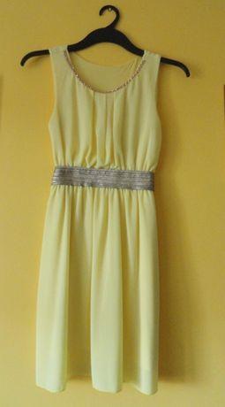 Elegancka sukienka w kolorze żółtym
