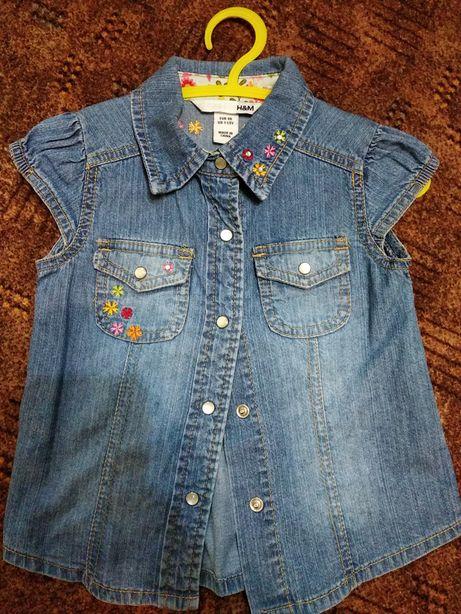 Джинсовая фирменная рубашка H&M на девочку, на1.5-2 года