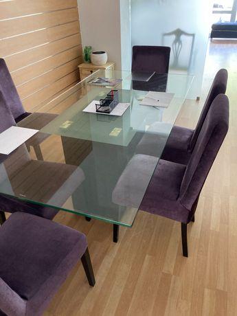 Mesa vidro e seis cadeiras como novas