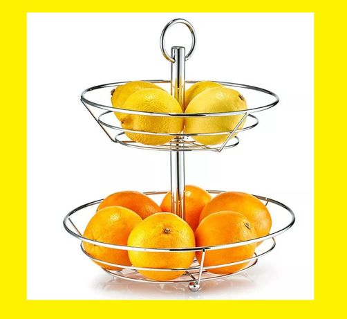 Kosz do serwowania Patera Zeller na owoce dwupoziomowa chrom 29x29 cm!