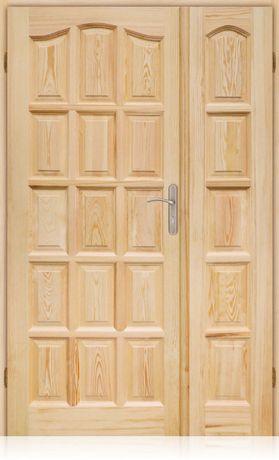dwuskrzydlowe lite drzwi drewniane sosnowe