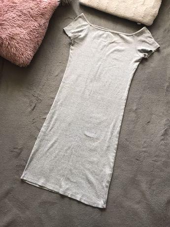 Szara sukienka midi z odkrytymi ramionami