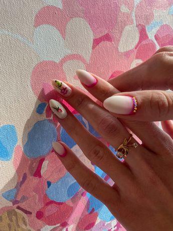 Гель лак ,комбиманикюр ,укрепление ногтей ,красивые дизайны