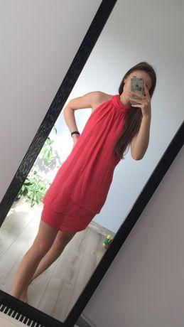 Śliczna koralowa sukienka, rozmiar M