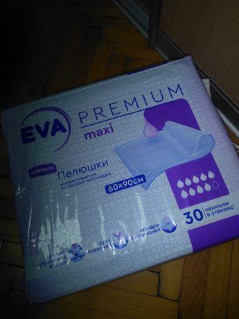 Пеленки одноразовые/пелюшки EVA PREMIUM maxi 60*90/30 штук/новинка