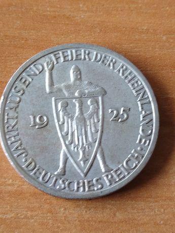 3 marki 1925 Rheinland rycerz Weimar