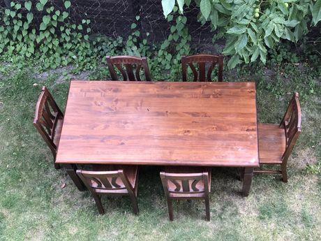 Stół i 6 krzeseł- drewno