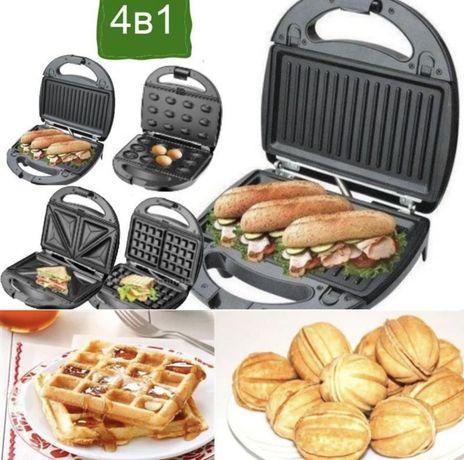Новая 4в1 бутербродница / сендвичница / вафельница/ орешница Crownberg