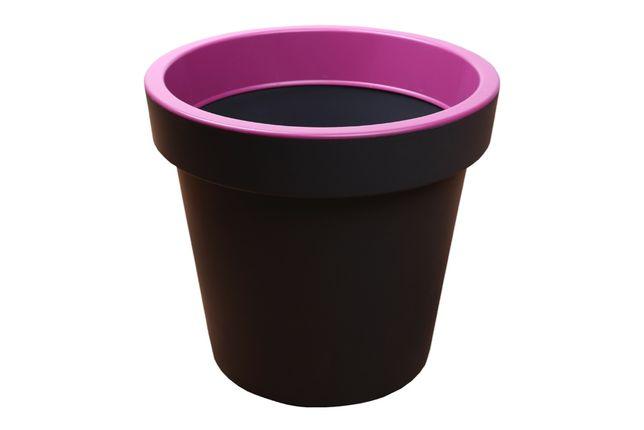 Donica okrągła XL różowa plastikowa doniczka szara WYSYŁKA!