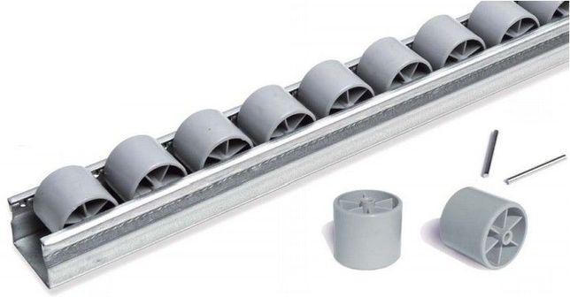 Calha / Carril de rodízios p/ deslocar caixas em superficies trabalho
