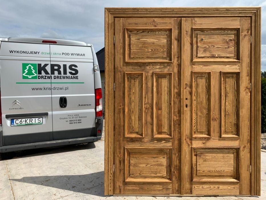 Drzwi lite drewniane szczotkowane olejowane OD RĘKI postarzane