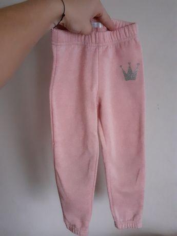Ocieplane pudrowe spodnie dresowe dla dziewczynki
