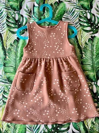 Sukienka Zara brudny róż w kropki ocieplana 3-4 lata