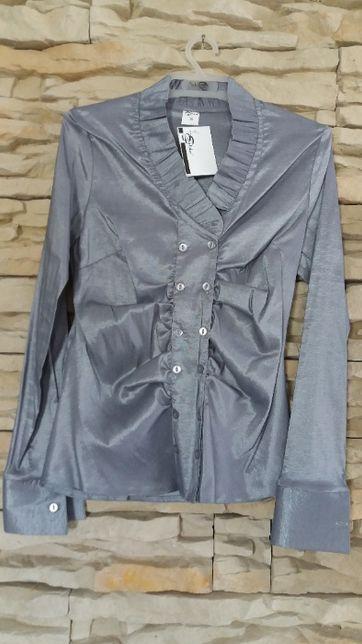 nowa bluzka, elegancka, połysk, srebrna, polska firma, r.38
