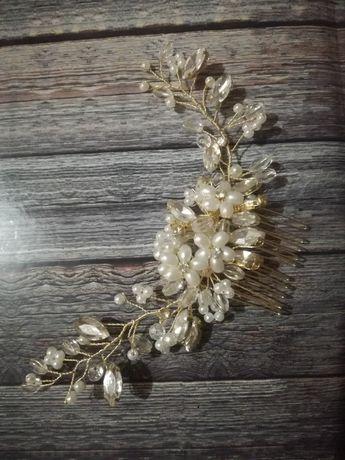 ozdoba do włosów, ślubna, złota, perełki, kamienie